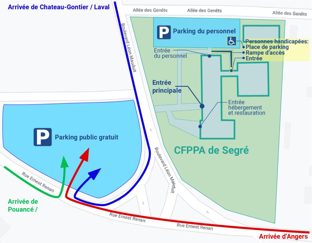 plan d'accès CFPPA Segré